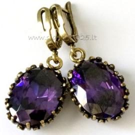Žalvariniai auskarai su violetiniu Cirkoniu ŽA121