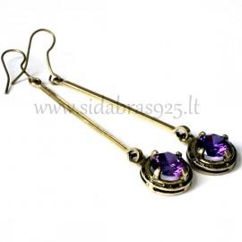 Žalvariniai auskarai su violetiniu Cirkoniu ŽA630