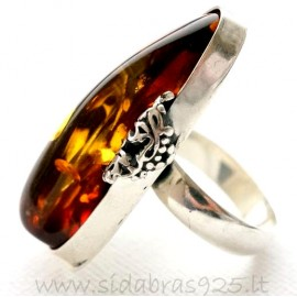 Unique jewelry ring with Amber