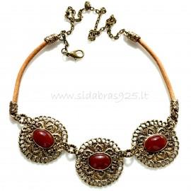 Brass necklace Karneoliu ŽK356