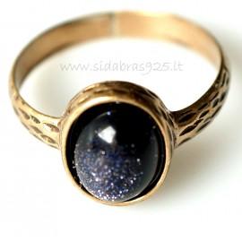 Bronzins žiedas su Nakties akmeniu BŽ147