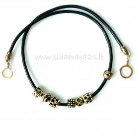 Oжерелье из латуни с натуральной кожей