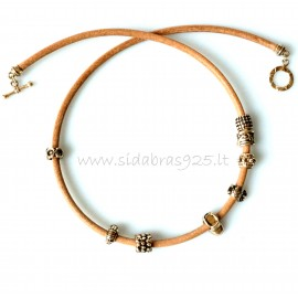 Bronze necklace with natural leather