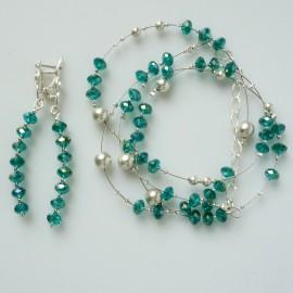Комплект с зелеными кристаллами Swarowski