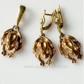 """Bronze jewellery set """"Frogs"""""""