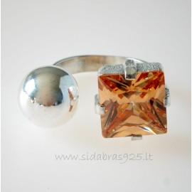 Žiedas su cirkoniu ir burbulu