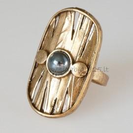 Bronzinis žiedas su Hematitu BŽ072