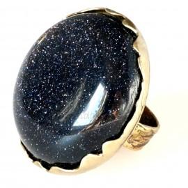 Žalvarinis žiedas su Nakties akmeniu ŽŽ