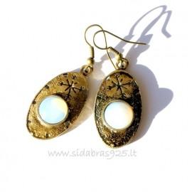 Серьги из латуни с лунным камнем ŽA547