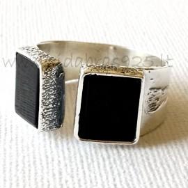 Žiedas su Oniksu / Snieginiu Obsidianu Ž508