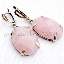 Серьги с розовым кварцем A361
