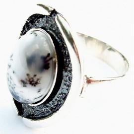 Žiedas Ž131 su Peizažiniu Agatu