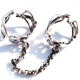 Žiedas, du sujungti grandinėle Ž490