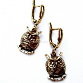 """Brass earrings """"Owls"""" ŽA553"""