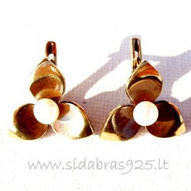 Brass earrings with Pearl ŽA212