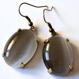 Серьги из латуни с серым камнем Кошачий глаз ŽA361
