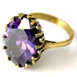 Žalvarinis Žiedas su violetiniu Cirkoniu
