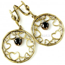 "Brass earrings ŽA ""su juodu Cirkonu"""