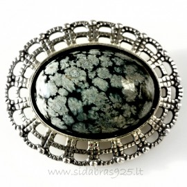 Brooch with Snow Obsidian S666