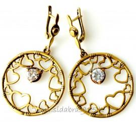 """Brass earrings """"Širdies spindesys"""" ŽA625"""