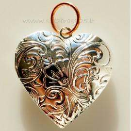 "Brass pendant ""Silvered Heart"""