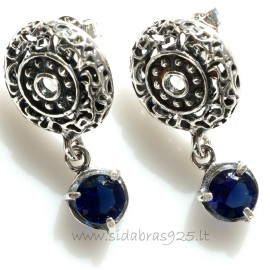 "Earrings with Zirconia ""Mėlynas spindesys"""