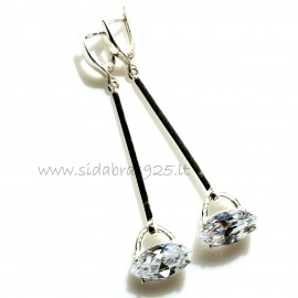 "Earrings with Zirconia ""Baltas laivelis"""