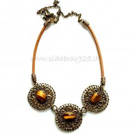 Brass necklace Tigro akmeniu ŽK356