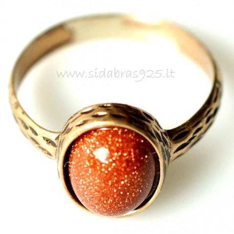 Bronzins žiedas su Saulės akmeniu BŽ147