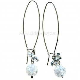 "Earrings ""Ribbon"" with Mountain crystal"