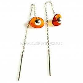 Earrings with amber on the chain