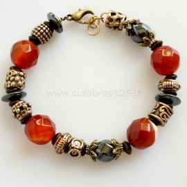 Sold Out Bronze bracelet with carnelian and hematite