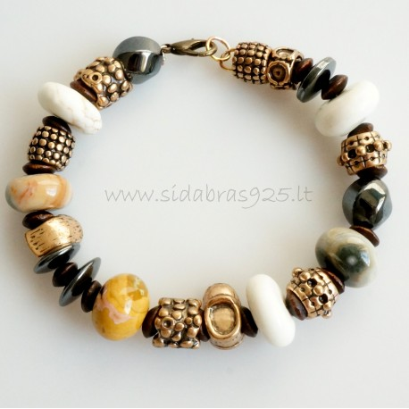 Bronze bracelet with natural stones