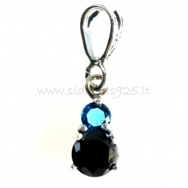 Pendant with blue and black zirconia