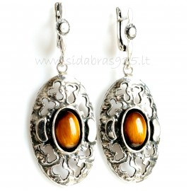 """Earrings with """"Tiger Eye"""" Stone A493"""