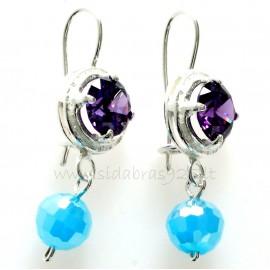 Earrings with purple zirconia and Swarovski