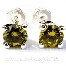 Earrings with green Zirconium A253
