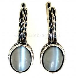 Серьги с серым камнем Кошачьи глаза A148