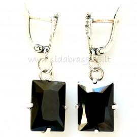 Earrings with black zirconia A480
