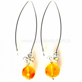 "Earrings ""Ribbon"" withwith Amber"