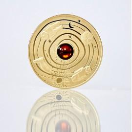 Медаль с янтарем из латуни
