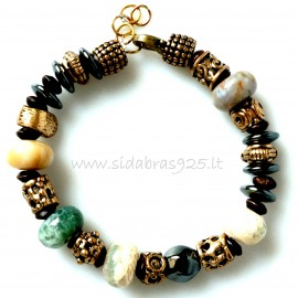 Bronze single-piece bracelet with natural stones Agate and Hematite