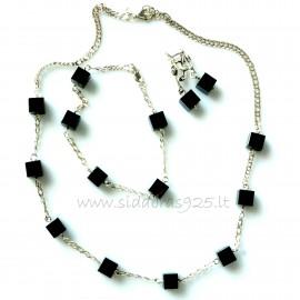 Комплект серьги, браслет, ожерелье с гематитами