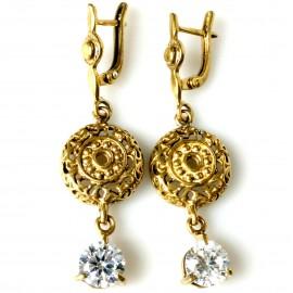 Bronze earrings with zirconium BA754