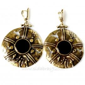 Brass earrings with onyx ŽA500