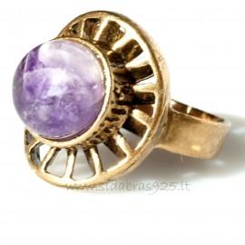 Bronzinis žiedas su Ametistu BŽ149