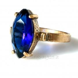 Bronzinis žiedas su mėlynu Cirkoniu BŽ113