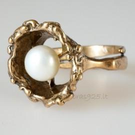 Bronzinis žiedas su Perlu BŽ507