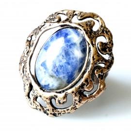 Bronzins žiedas su Sodalitu BŽ286