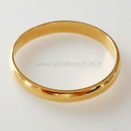 Paauksuotas vestuvinis žiedas ŽAuAg 2,6